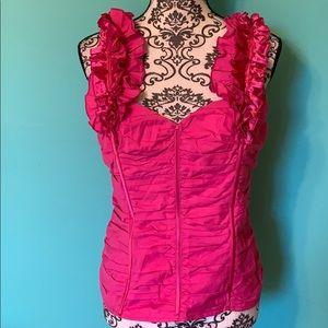 2B Bebe Hot Pink Corset Party Blouse Back Tie L